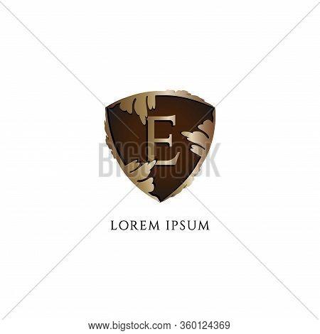 Letter E Alphabet Logo Design Template Isolated On White Background. Luxury Decorative Metallic Gold
