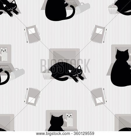 Cute Laptop And Cartoon Cat Vector Seamless Pattern Background. Black Feline Interrupting Business O