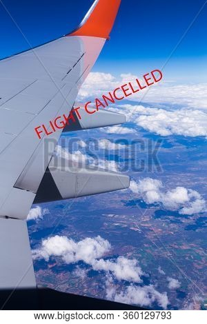 Image Of An Airplane With The Text Flight Cancelled Representing Cancelled Flights Due To Coronaviru