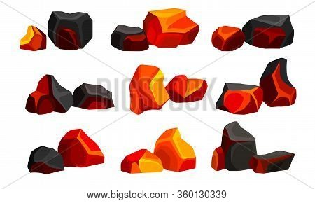 Volcanic Stones Or Cobbles Of Different Shapes Vector Set
