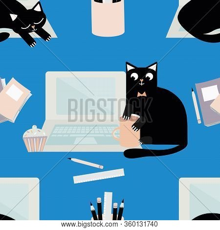 Vector Cute Laptop And Cartoon Cat Seamless Pattern Background. Black Feline Interrupting Business O