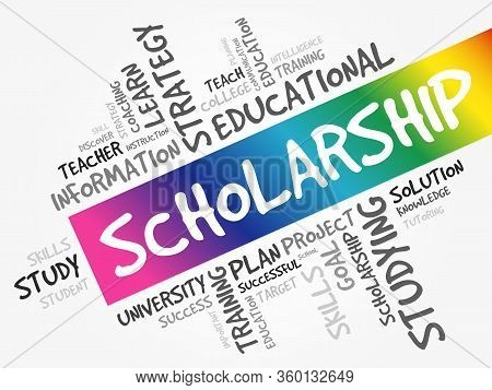 Scholarship Word Cloud Collage, Education Concept Background