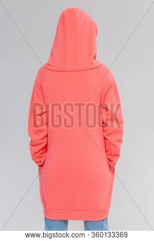 Woman In Pink Long Hoodie, Mockup For Logo Or Branding Design
