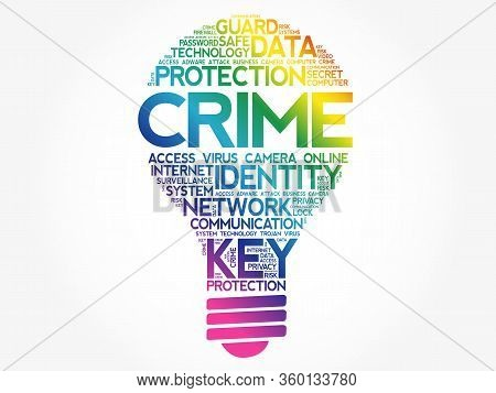 Crime Bulb Word Cloud Collage, Business Concept Background