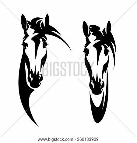 Horse Head Front View Head Outline - Black And White Vector Design Of En Face Mustang Portrait