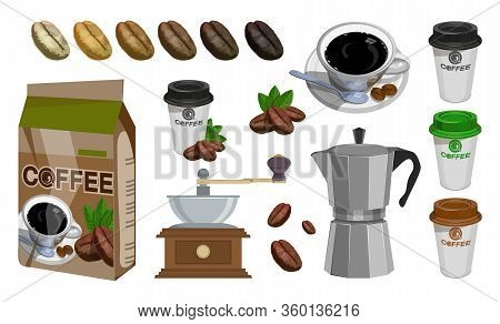 Coffee House. Coffee Shop. Set With Turk, Cups, Bag With Beans, Coffee Mill,coffee Maker, Kettle, Cu