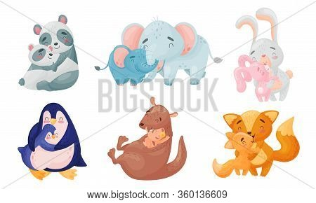 Zoo Mom Animals With Their Cubs Hugging And Cockering Them Vector Set