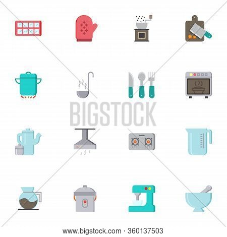 Kitchenware Elements Collection, Flat Icons Set, Colorful Symbols Pack Contains - Cooking Pot, Sauce