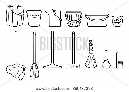 Outline Style Set Of Cleaning Tools: Buckets, Mops, Besom, Broom, Dustpan, Brush On White Backgound