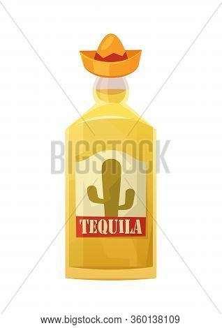 Glass Bottle Of Tequila On White Background Vector