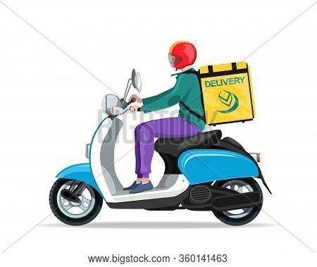 Motorcycle Rider. Fast Courier. Motorcycle Driver Courier. Bike Scooter Delivery. Moped. Motorbike.