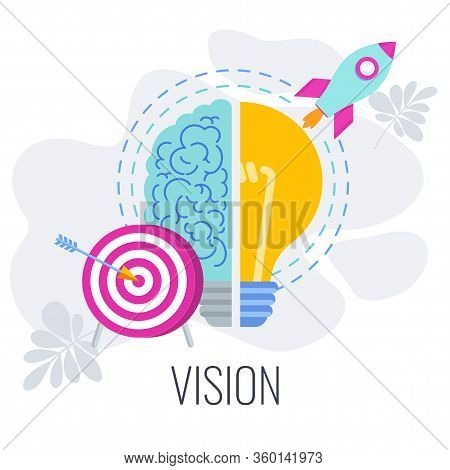 Vision Infographics Pictogram. Half Brain, Half Lamp. Development Directions Of Company In Market. W