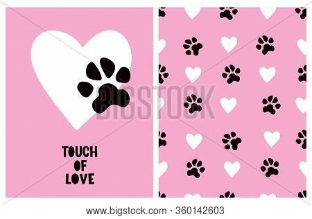 Touch Of Love. Cute Hand Drawn Illustration And Vector Pattern For Dog Lovers. Big White Heart With
