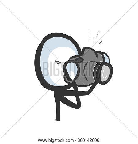 Photographer Holding Camera Making A Photo Shot. Hand Drawn. Stickman Cartoon. Doodle Sketch, Vector