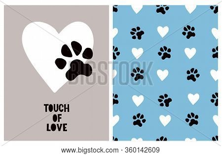 Touch Of Love. Cute Hand Drawn Illustration And Vector Pattern For Dog Lovers. White Heart With Blac