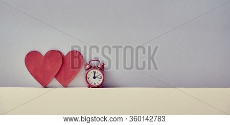 Time To Love Mockup. Valentines Day. Love Relationship. Couple In Love. Sweethearts And Amour. Alarm