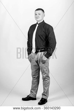 Man Regular Caucasian Appearance Wear Formal Clothes. Businessman Lecturer Manager Office Worker. Fo