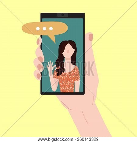 Cartoon People Chating In Messenger And Character Person Female Social Communication Friendship And
