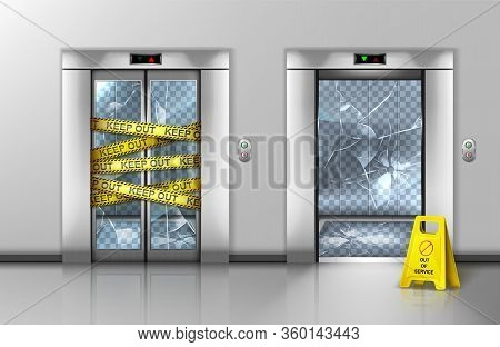 Broken Glass Elevators Closed For Repair Or Maintenance. Passenger Lift Transparent Doorway Gate Wra