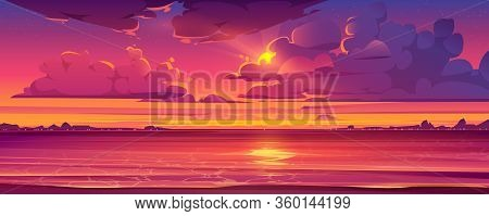 Sea Sunset. Tropical Landscape Of Ocean With Sky, Clouds And Water In Red Light Of Evening Sun. Vect