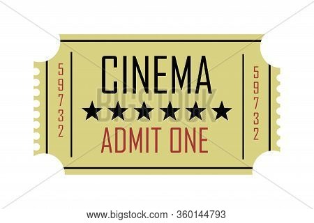 Illustration Of A Retro Cinema Ticket With The Text Cinema, Admit One, In Cream Color