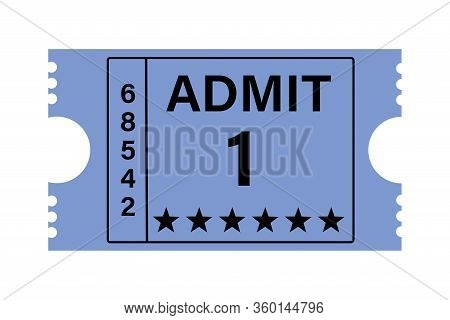 Illustration Of A Cinema Ticket With A Retro Design With The Text Admit 1, In Blue Color