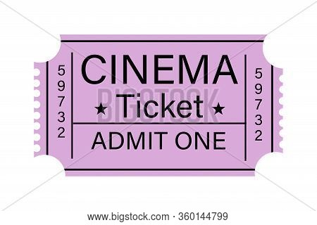 Illustration Of A Cinema Ticket With A Retro Design With The Text Cinema, Ticket, Admit One, In Purp