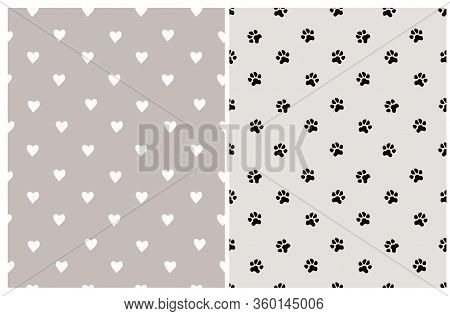 Cute Hand Drawn Seamless Vector Patterns For Dog Lovers. White Heart Isolated On A Light Brown Backg