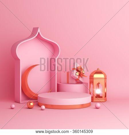 Islamic Background, Display Podium, Arabic Window On White Beige Background. Ramadan Kareem, Eid Al