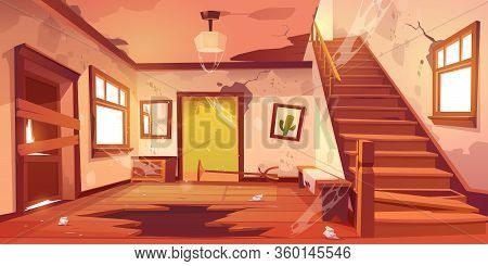Old Abandoned House With Mess And Broken Furniture At Daytime. Vector Cartoon Interior Of Empty Home