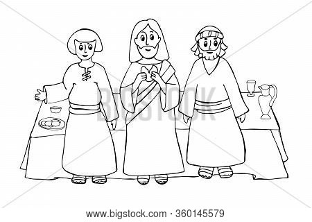 Jesus Christ With The Last Supper. Hand Drawing Illustration Of A Biblical Scene.