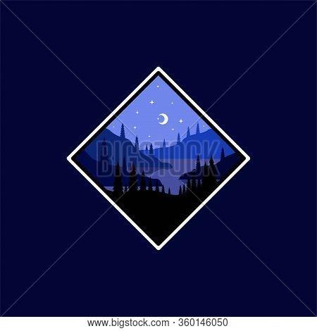 River Creek Lake At Night Flat Illustration Logo Vector