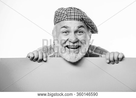 Senior Bearded Man Peek Out Of Banner Place Announcement. Advertisement Shop. Pensioner Grandfather