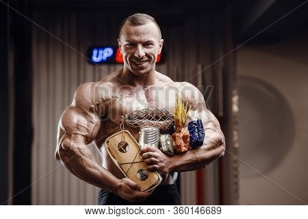 Bodybuilder Athlete With Axe, Food In Gas Mask In Gym. Muscle Man With Cheese Eggs And Cereals Coron