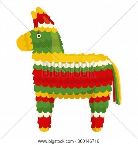 Mexican Traditional Festive Paper Toy Donkey Pinata. Vector