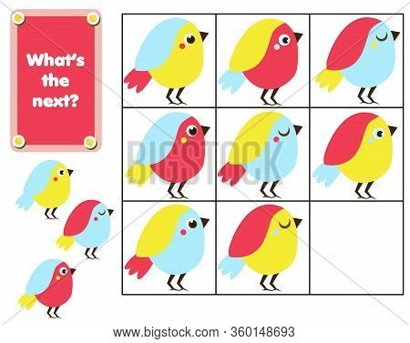What Comes Next Educational Children Game. Kids Activity Sheet, Continue The Row Of Birds
