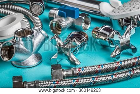 Different Plumbing Fixtures For Use In The Bathroom And Toilet Room, In The Kitchen