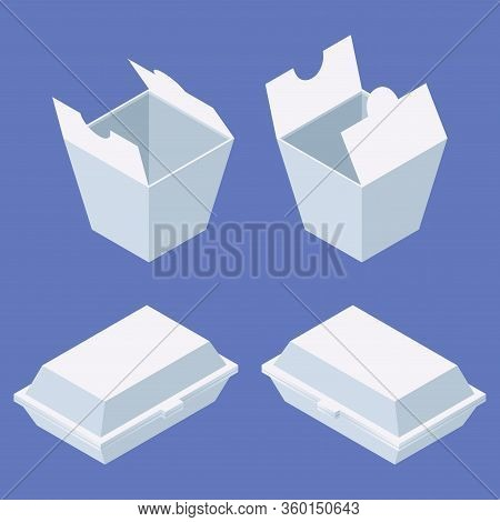 Fast Food Delivery Package Set For Western And Chinese Food. White Boxes Isometric In Various Foresh