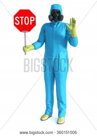 3d Rendering Of Person Wearing Blue Hazmat Suit Holding A Stop Sign In One Hand And Holding Up His O