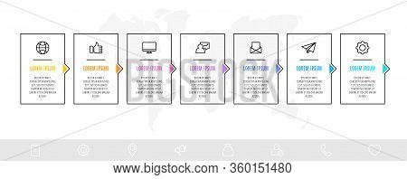 Timeline Creative Design Linear Infographics Template. Business Vector Illustration With 7 Options,