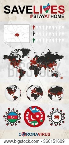Infographic About Coronavirus In Azerbaijan - Stay At Home, Save Lives. Azerbaijan Flag And Map, Wor