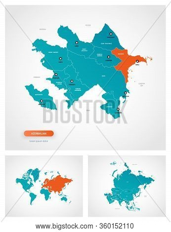 Editable Template Of Map Of Azerbaijan With Marks. Azerbaijan  On World Map And On Asia Map.