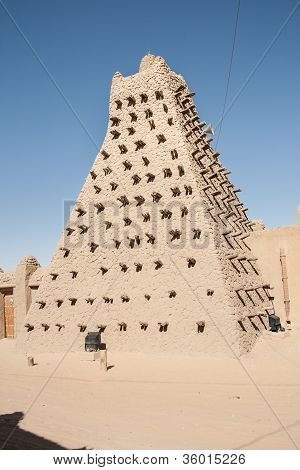 Mud Brick Mosque In Timbuktu, Mali, Africa.