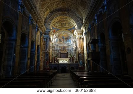 Nepi, Italy - February 5, 2020: Interior Of The Ancient Santa Maria Assunta E Sant'anastasia Neoclas