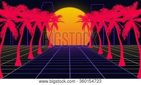 Beautiful Beach Evening, Synth Wave And Retro Wave, Vaporwave Futuristic Aesthetics. Ultraviolet, Gl