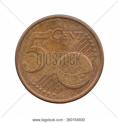 5 Euro Cents Coin Of The Germany Isolated On A White Background.