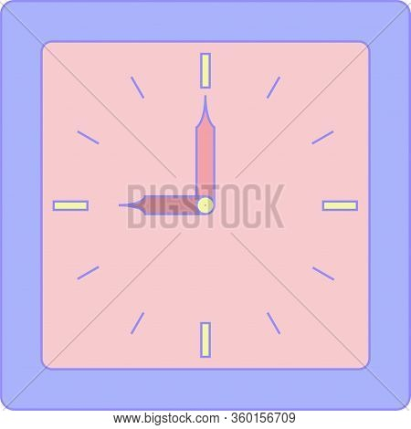 The Clock Of Alarm With Purple Corpus And Rose Face Or Dial. Nine Or Twenty One Hours O Clock