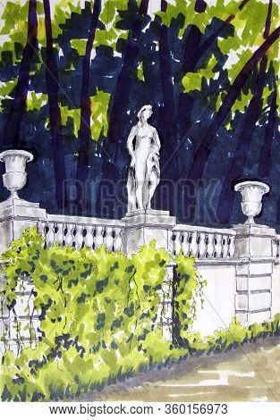 White Stone Balustrade With Flowerpots And A Statue On A Background Of Dark Trees In The Park. Drawi