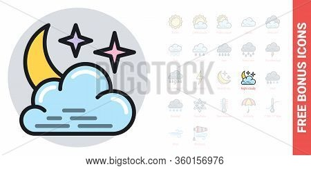 Night Cloudy Icon For Weather Forecast Application Or Widget. Moon And Stars In The Night Sky Behind