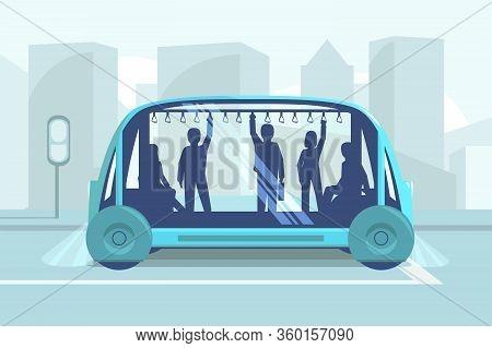Driverless Car Technology Vector Illustration. Smart Autonomous